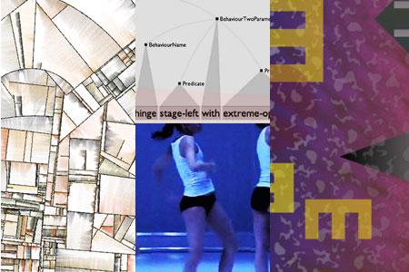 Substrate (Jared Tarbell, 2003; esquerda), Companhia Random Dance e Scape (Brian Eno e Peter Chilvers, 2012).