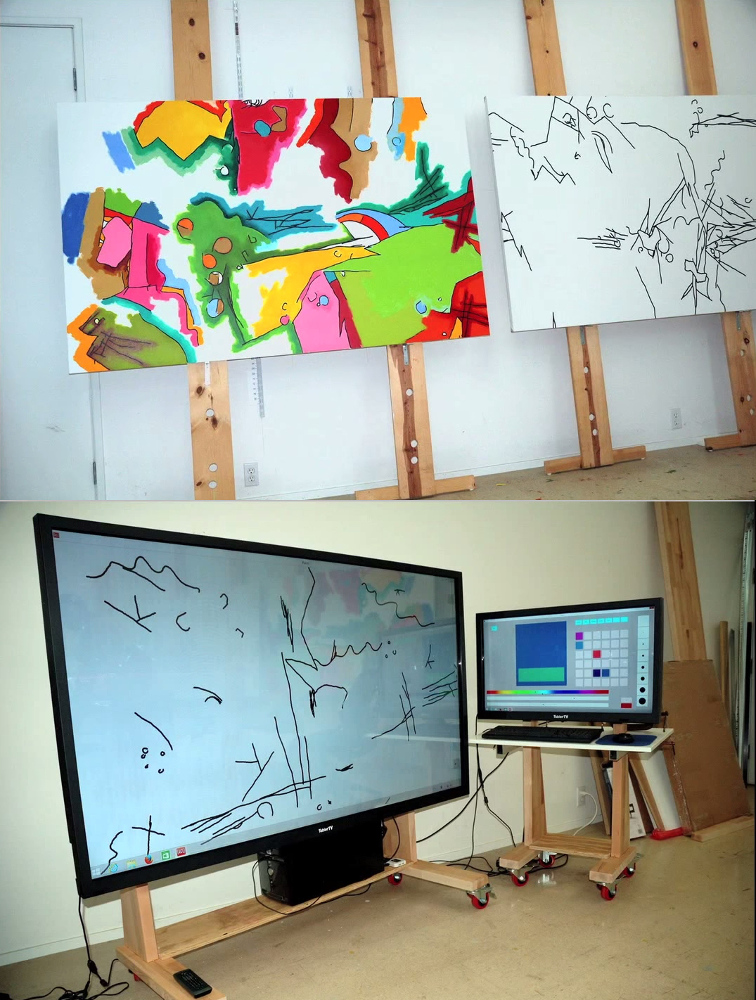 New digital finger-painting setup